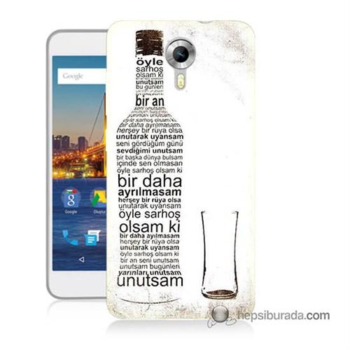 Teknomeg General Mobile 4G Android One Kapak Kılıf Rakı Şişesi Baskılı Silikon