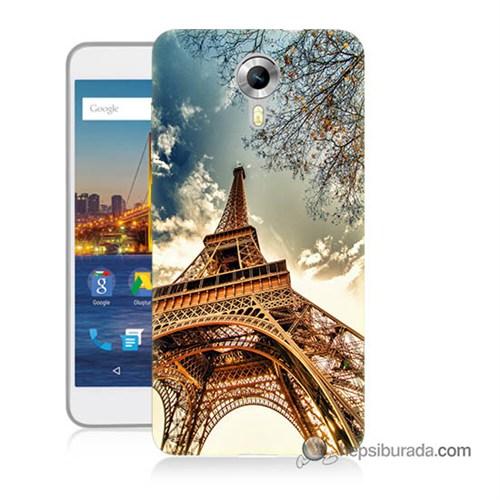 Teknomeg General Mobile 4G Android One Kapak Kılıf Eyfel Kulesi Baskılı Silikon