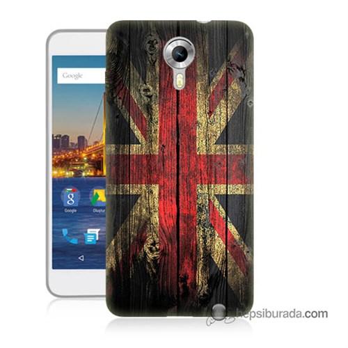 Teknomeg General Mobile 4G Android One Kapak Kılıf İngiliz Bayrağı Baskılı Silikon