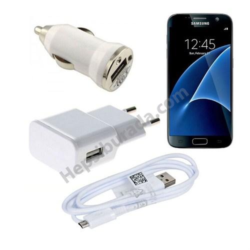 Fonemax Samsung Galaxy S7 3İn1 Ev Ve Araç Şarjı + Data Kablosu Seti