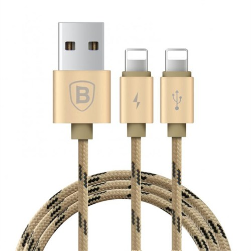 Baseus Kny 2İn1 Apple Lightning Usb Data Kablosu 2 Lightning Çıkışlı Gold 120Cm