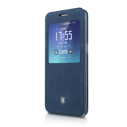 Baseus Kny Samsung Galaxy S7 Edge Terse Serisi Kapaklı Uyku Modlu Kılıf Lacivert