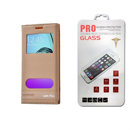 Lopard General Mobile Gm 5 Plus Kılıf Kapaklı Ellite Pencereli Deri + Temperli Kırılmaz Cam Ekran Koruyucu
