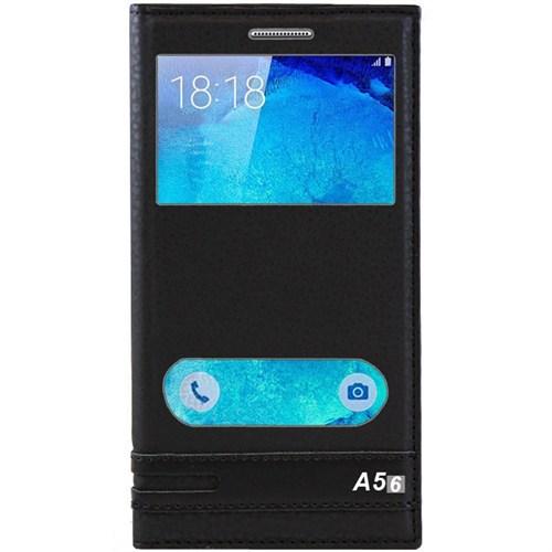 Kılıfshop Samsung Galaxy A5 2016 Pencereli Kapaklı Kılıf (Siyah)
