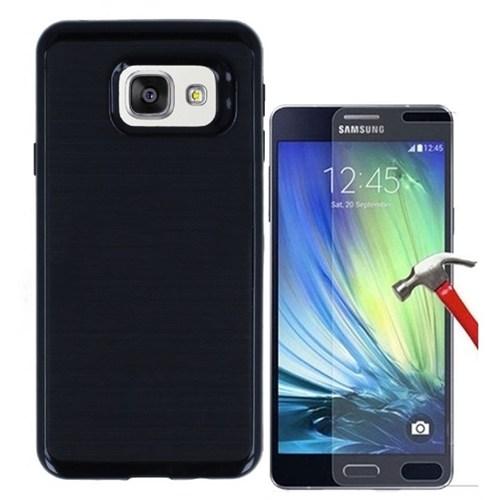 Kılıfshop Samsung Galaxy A7 2016 Kılıf Infinity Motomo (Siyah) + Kırılmaz Cam Ekran Koruyucu