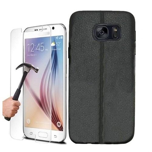 Kılıfshop Samsung Galaxy S7 Silikon Kılıf Dikiş Desenli (Siyah) + Kırılmaz Cam Ekran Koruyucu