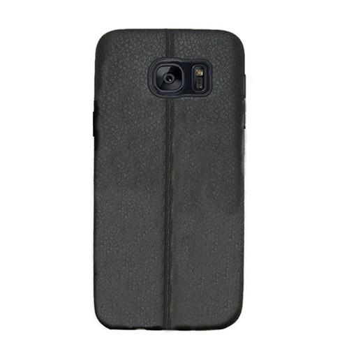 Kılıfshop Samsung Galaxy S7 Edge Silikon Kılıf Dikiş Desenli (Siyah)