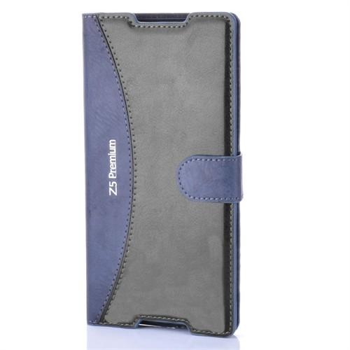 Kılıfshop Sony Xperia Z5 Premium Cüzdan Kılıf (Lacivert)
