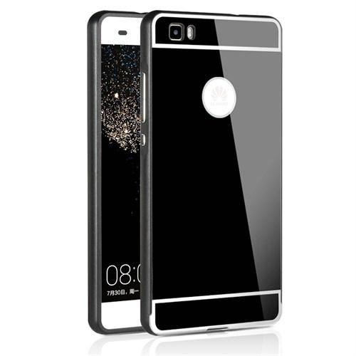 Kılıfshop Huawei P8 Lite Aynalı Lüks Bumper Kılıf (Siyah)