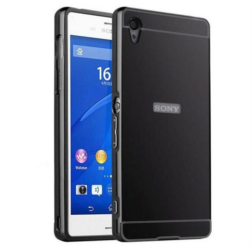 Kılıfshop Sony Xperia M4 Aqua Aynalı Lüks Bumper Kılıf (Siyah)