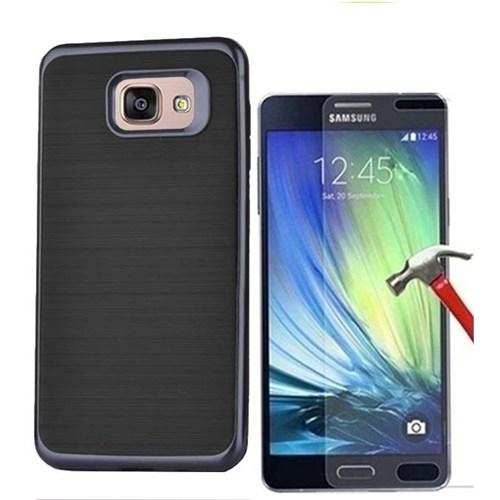 Kılıfshop Samsung Galaxy A7 2016 Matrix Silikon Kılıf (Siyah) + Kırılmaz Cam Ekran Koruyucu
