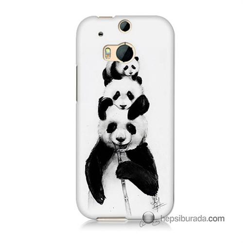 Teknomeg Htc One M8 Kapak Kılıf Panda Ailesi Baskılı Silikon
