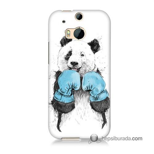 Teknomeg Htc One M8 Kılıf Kapak Boksör Panda Baskılı Silikon