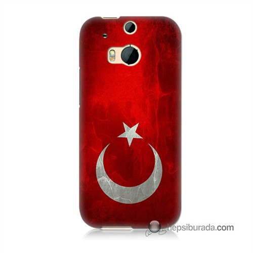Teknomeg Htc One M8 Kılıf Kapak Türkiye Bayrağı Baskılı Silikon