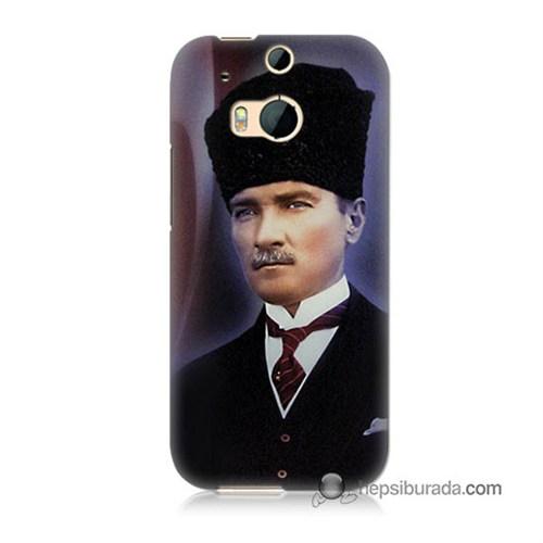 Teknomeg Htc One M8 Kılıf Kapak Mustafa Kemal Atatürk Baskılı Silikon