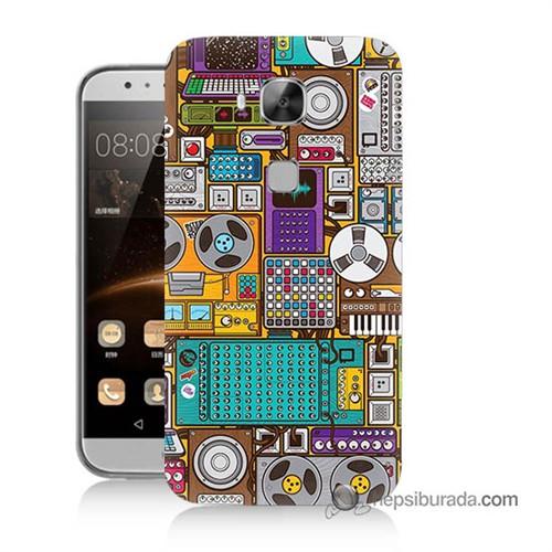 Teknomeg Huawei Ascend G8 Kılıf Kapak Teknoloji Baskılı Silikon