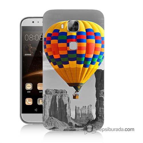 Teknomeg Huawei Ascend G8 Kılıf Kapak Renkli Uçan Balon Baskılı Silikon