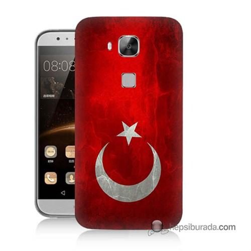 Teknomeg Huawei Ascend G8 Kılıf Kapak Türkiye Bayrağı Baskılı Silikon