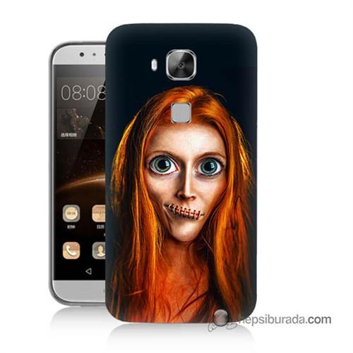 Teknomeg Huawei Ascend G8 Kılıf Kapak Zombie Kız Baskılı Silikon
