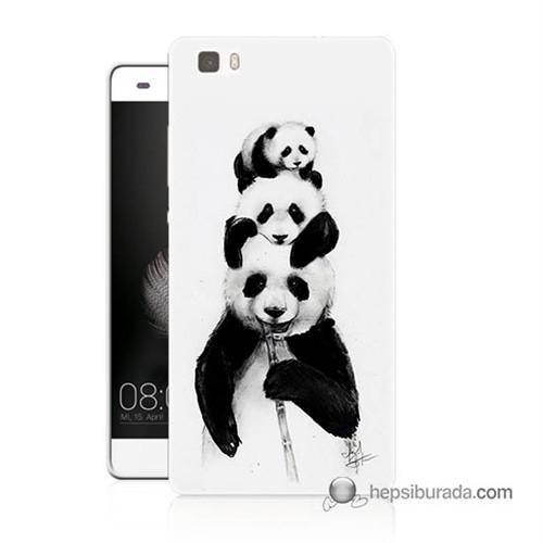Teknomeg Huawei Ascend P8 Lite Kapak Kılıf Panda Ailesi Baskılı Silikon