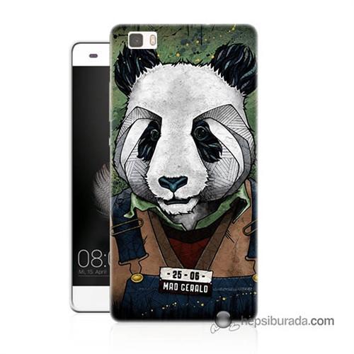 Teknomeg Huawei Ascend P8 Lite Kapak Kılıf İşçi Panda Baskılı Silikon