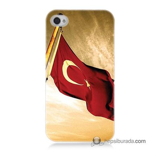 Teknomeg İphone 4 Kılıf Kapak Türk Bayrağı Baskılı Silikon