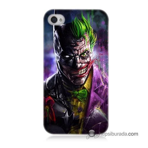 Teknomeg İphone 4 Kılıf Kapak Batman Vs Joker Baskılı Silikon
