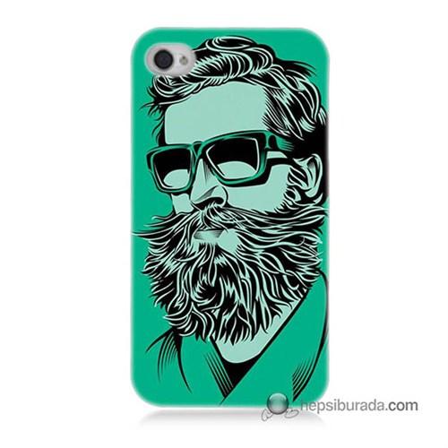 Teknomeg İphone 4 Kılıf Kapak Beard Art Baskılı Silikon