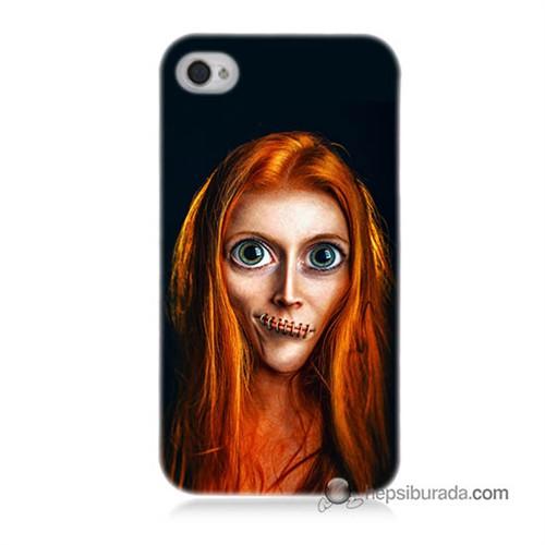 Teknomeg İphone 4 Kılıf Kapak Zombie Kız Baskılı Silikon