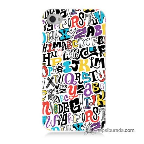 Teknomeg İphone 4S Kılıf Kapak Renkli Harfler Baskılı Silikon