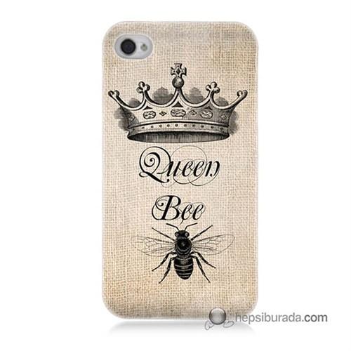 Teknomeg İphone 4S Kılıf Kapak Queen Bee Baskılı Silikon
