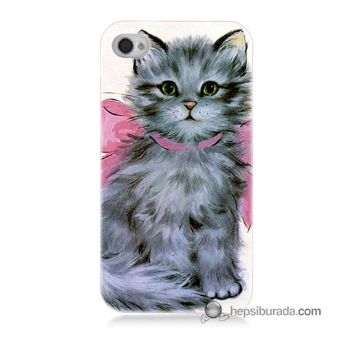 Teknomeg İphone 4S Kılıf Kapak Papyonlu Kedi Baskılı Silikon