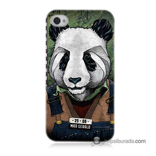Teknomeg İphone 4S Kapak Kılıf İşçi Panda Baskılı Silikon