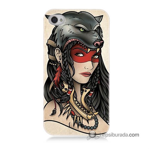 Teknomeg İphone 4S Kapak Kılıf Pocahontas Baskılı Silikon