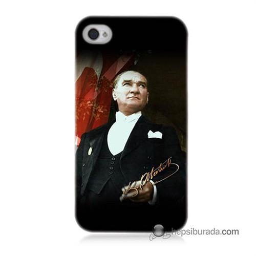 Teknomeg İphone 4S Kapak Kılıf M.K.Atatürk Baskılı Silikon