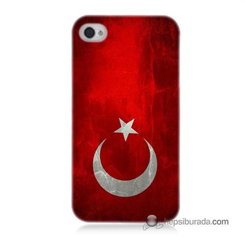Teknomeg İphone 4S Kılıf Kapak Türkiye Bayrağı Baskılı Silikon