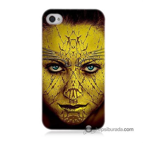 Teknomeg İphone 4S Kapak Kılıf Sarı Kız Baskılı Silikon