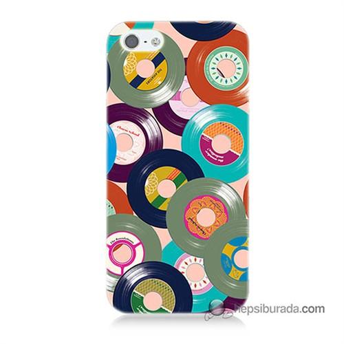 Teknomeg İphone 5S Kapak Kılıf Renkli Plaklar Baskılı Silikon