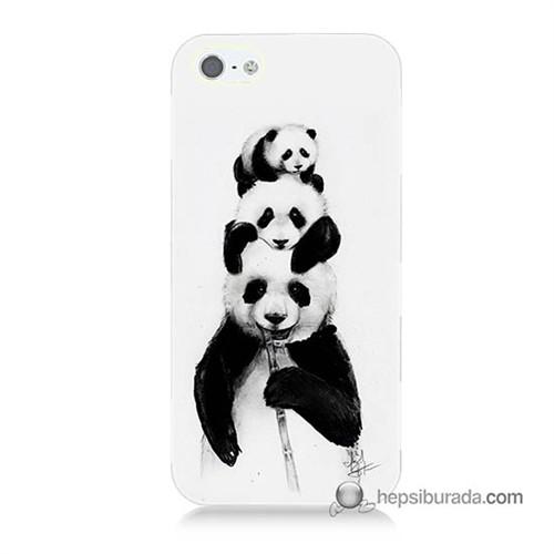 Teknomeg İphone 5S Kapak Kılıf Panda Ailesi Baskılı Silikon