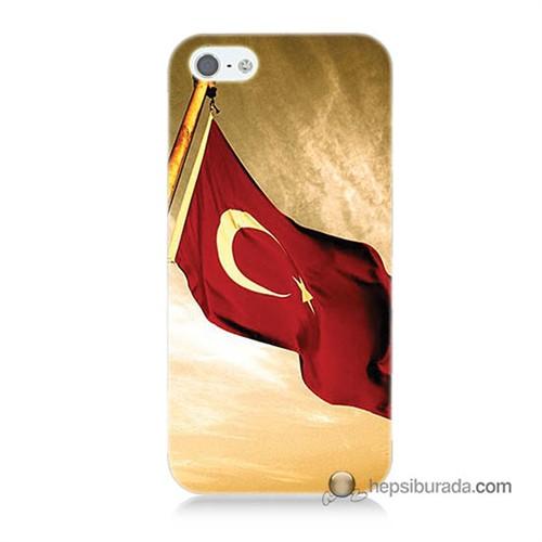 Teknomeg İphone 5 Kılıf Kapak Türk Bayrağı Baskılı Silikon