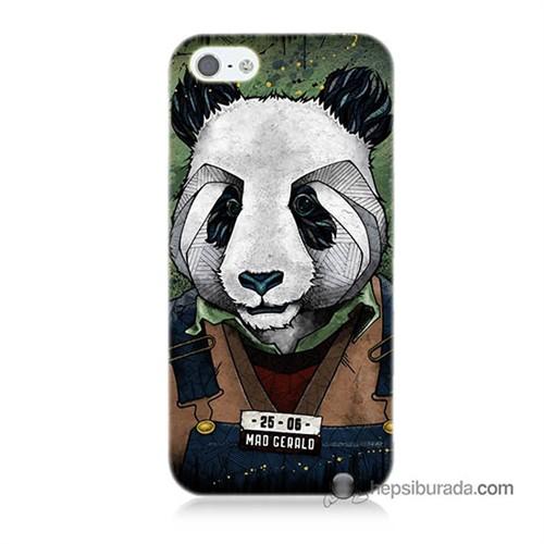 Teknomeg İphone 5S Kapak Kılıf İşçi Panda Baskılı Silikon