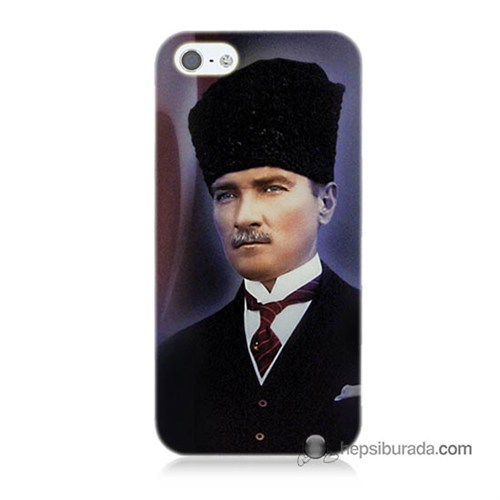 Teknomeg İphone 5 Kılıf Kapak Mustafa Kemal Atatürk Baskılı Silikon