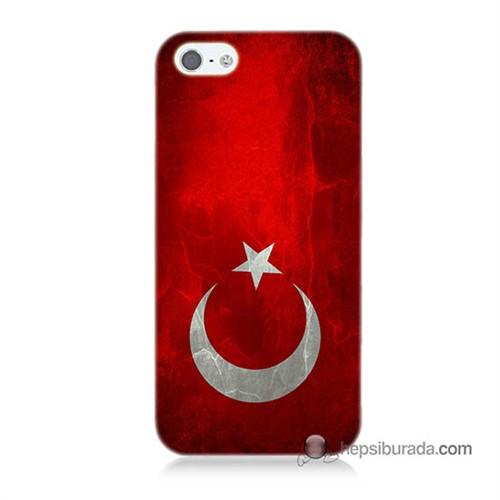 Teknomeg İphone 5S Kılıf Kapak Türkiye Bayrağı Baskılı Silikon