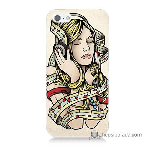 Teknomeg İphone 5S Kapak Kılıf Müzik Aşkı Baskılı Silikon
