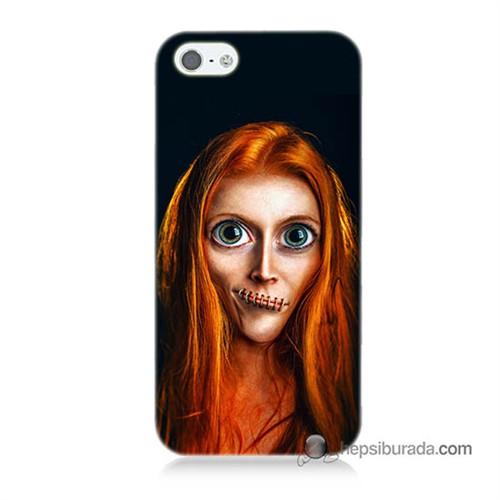 Teknomeg İphone 5S Kılıf Kapak Zombie Kız Baskılı Silikon