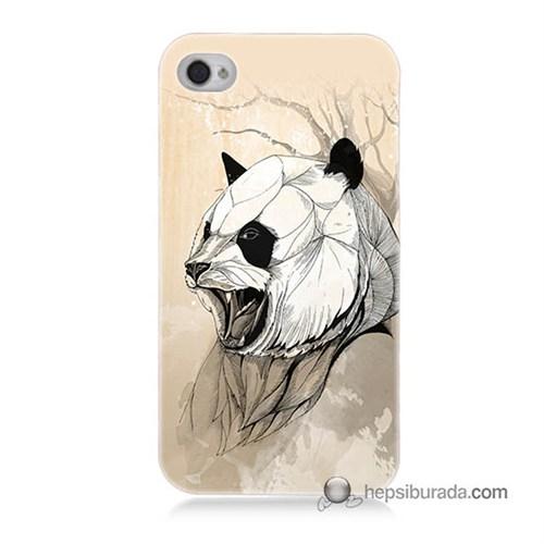 Teknomeg İphone 4S Kapak Kılıf Kavgacı Panda Baskılı Silikon