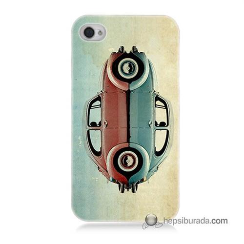Teknomeg İphone 4S Kılıf Kapak Mavi Kırmızı Wolkswagen Baskılı Silikon