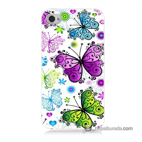 Teknomeg İphone 4S Kapak Kılıf Renkli Kelebekler Baskılı Silikon