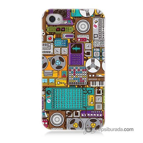 Teknomeg İphone 4S Kılıf Kapak Teknoloji Baskılı Silikon