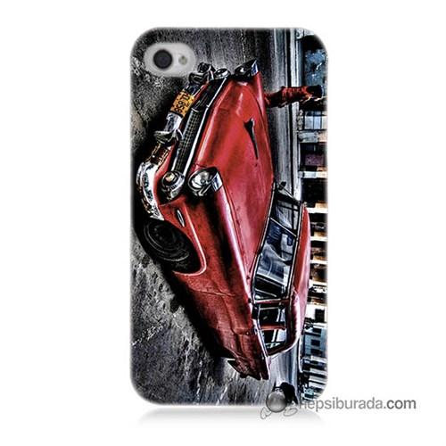 Teknomeg İphone 4 Kılıf Kapak Klasik Araba Baskılı Silikon